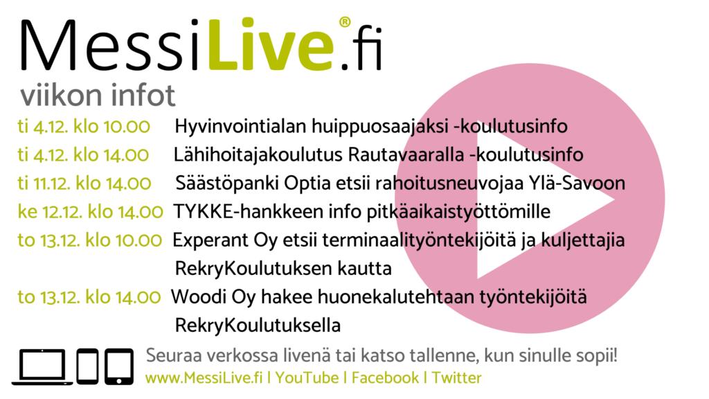 MessiLIve.fi viikon infoluennot 4.12., 11.12. ja 13.12.2018