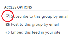 From the Access Options menu, choose Subscribe to this group by email.