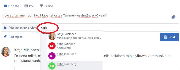 """Voit tehostaa viestintää @mainintojen avulla. Kirjoita mihin tahansa viestin kohtaan @-merkki ja sen jälkeen haluamasi henkilön nimi tai lisää henkilöiden nimet viestilaatikon alaosan kohtaan """"Add people to notify"""". Tieto viestistä menee ko. henkilön Yammer-inboxiin."""