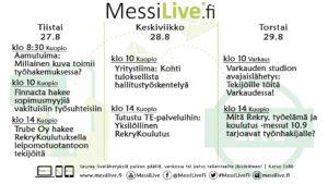 , MessiLive – tietoa TE-toimiston tarjoamista työmahdollisuuksista, RekryKoulutuksista ja työvoimakoulutuksista sekä palveluista, UEF Kamu