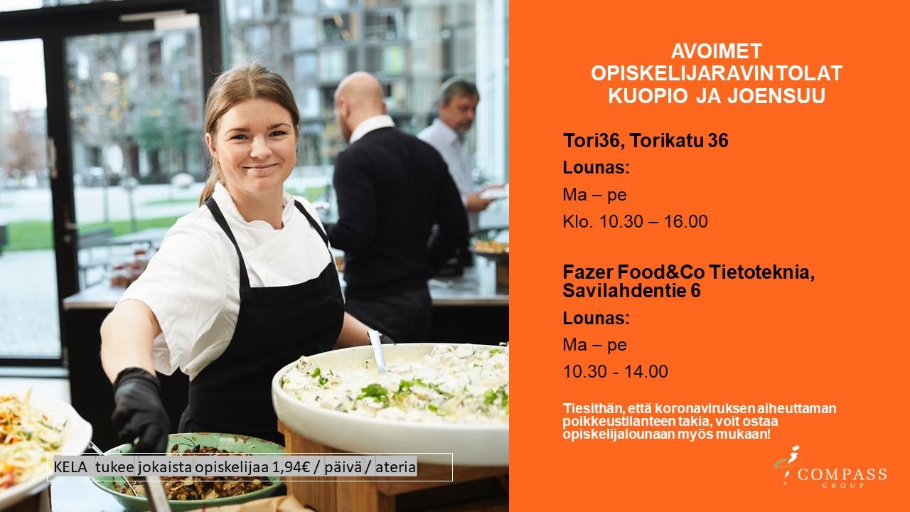 , Compass Group:  Joensuun ja Kuopion tällä hetkellä auki olevat opiskelijaravintolat, UEF Kamu, UEF Kamu