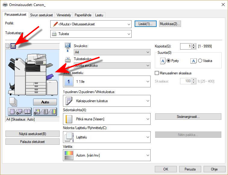 Choose to show the printer configuration on the left by clicking the small printer icon at the top of the page. Click the bypass on the right side of the graphic printer icon.