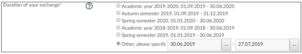 Duration of your exchange section with 'Other, please specify' selected. Other options are Academic year, Autumn semester, and Spring semester.