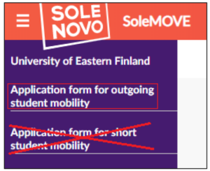 Top-left corner of the SoleMOVE front page, where the option 'Application form for outgoing student mobility is framed. The option 'Application form for short student mobility' is crossed out.