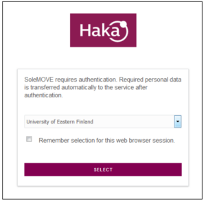 Haka log in page for SoleMOVE with 'University of Eastern Finland' chosen from a drop-down menu.