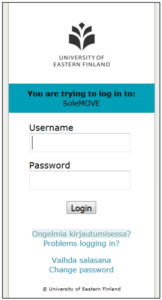 UEF log in for SoleMOVE. UEF Logo (black on white background) is at the top, above the username and password fields and login command button.