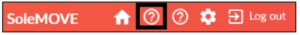 The top bar of the SoleMOVE system, where the Question mark icon leading to the user guide is marked with a black frame. The icon is next to the homepage icon on the left.
