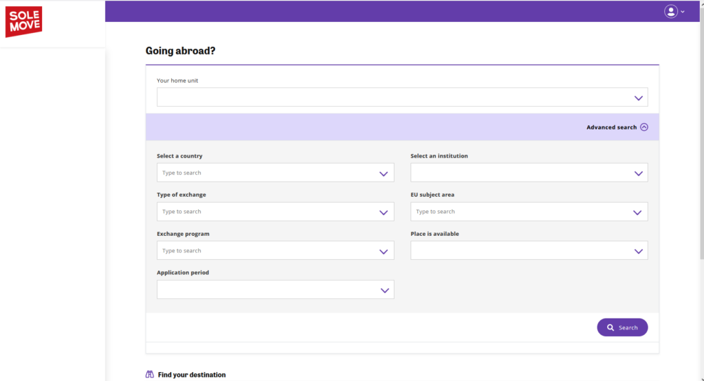 SoleMOVE search engine for finding student feedback with available filters.
